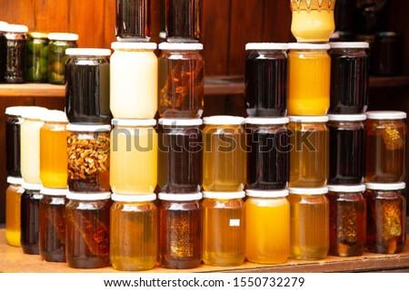 Variety of different types of organic honey. Rila Mountains, Bulgaria