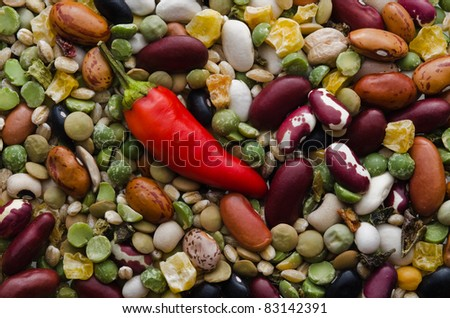 Variety of dried beans for soup with hot red pepper