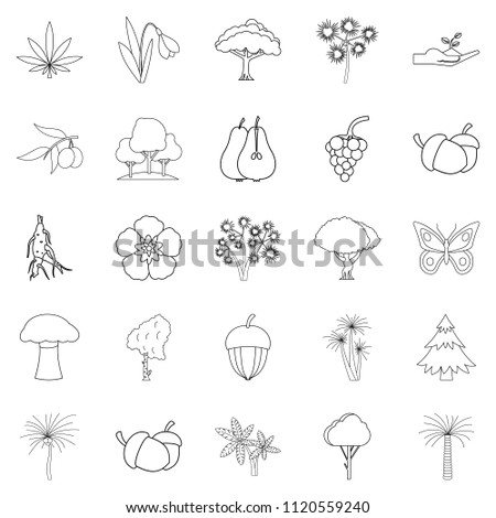 Variety of flora icons set. Outline set of 25 variety of flora icons for web isolated on white background