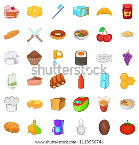 Variety of food icons set. Cartoon set of 36 variety of food icons for web isolated on white background