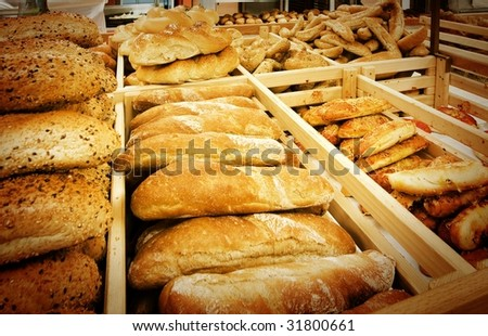 Variety of fresh bread in a supermarket