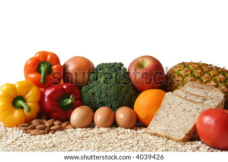 variety of fresh healthy foods, fruits, vegetables, whole grains and dairy. - stock photo