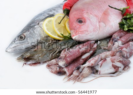 Variety of Fresh Sea Food. Mackerel, Red Snapper, Shrimp and Squid.