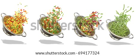 Variety of frozen vegetables on white background #694177324
