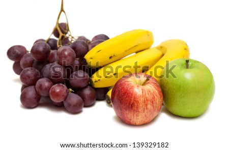 variety of fruit isolated over white
