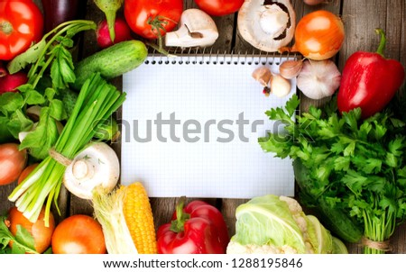 Variety of fruits and vegetables, on the white wooden table, top view, copy space, selective focus Fresh and healthy food.  #1288195846