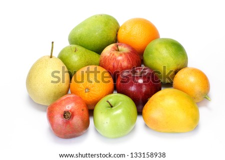 Variety of fruits on white