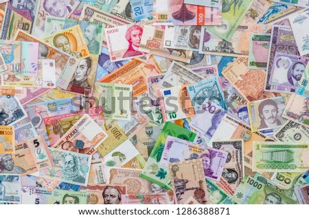 Variety of global banknotes, money collection, currencies