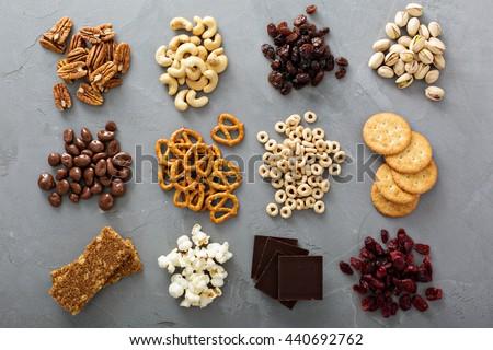 variety of healthy snacks...