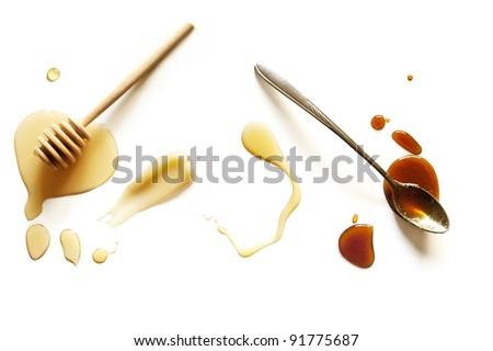 Variety of Honey on a White Background