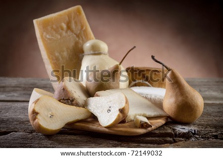 variety of italian cheese and pears