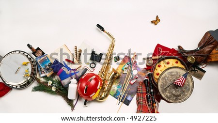 Variety of objects for an outdoor event