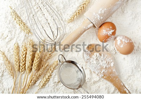 variety of objects on flour surface, baking or flour background