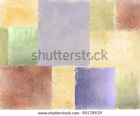 variety of pastel vintage grunge textured backgrounds in light faded patches of quilt illustration design in pale blue, cream, red, green, gold, pink, purple, and yellow for Easter