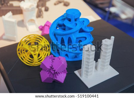 Stock Photo Variety of plastic products manufactured by 3D printing. Technologies