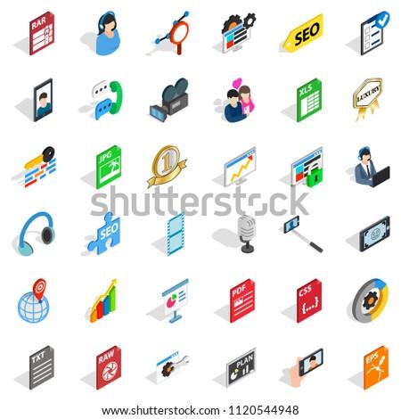 Variety of press icons set. Isometric set of 36 variety of press icons for web isolated on white background