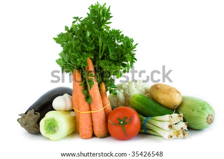 Variety of produce on white background