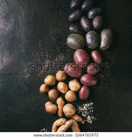 Variety of raw uncooked organic potatoes different kind and colors red, yellow, purple with various of salt over dark texture background. Top view, space. Square images #1064765975