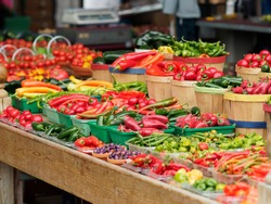 Variety of red and green chili peppers in Jean-Talon Market