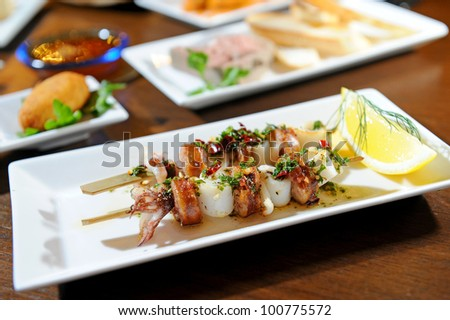 Variety of seafood on grill