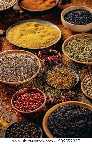 Variety of spices in bowls. Spices composition