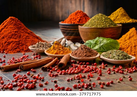 Shutterstock Variety of spices on kitchen table.
