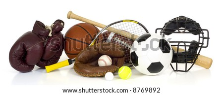 Variety of sports equipment on white background with copy space, items inlcude boxing gloves, a basketball, a soccer ball, a football, a baseball bat, a catcher's mitt or glove