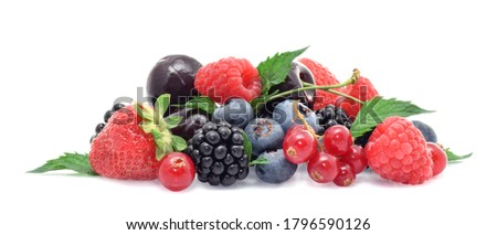 Variety of summer frishe berries in group strawberry, blueberry,raspbery, currant with green mint leaves isolated on white Photo stock ©