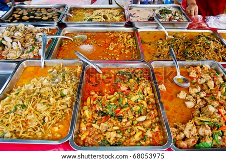 variety of thai food in fresh market, Asia, Thailand