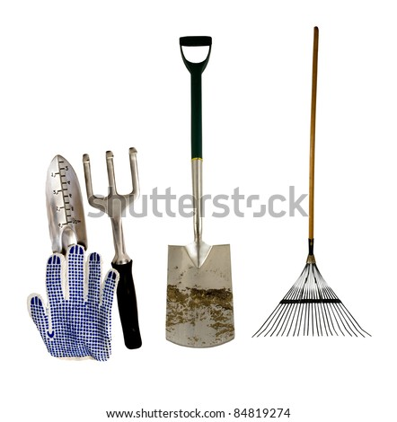 variety of tools for garden work on a white background