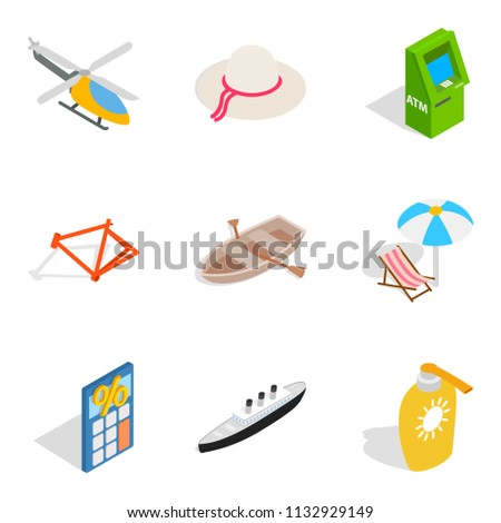 Variety of toys icons set. Isometric set of 9 variety of toys icons for web isolated on white background
