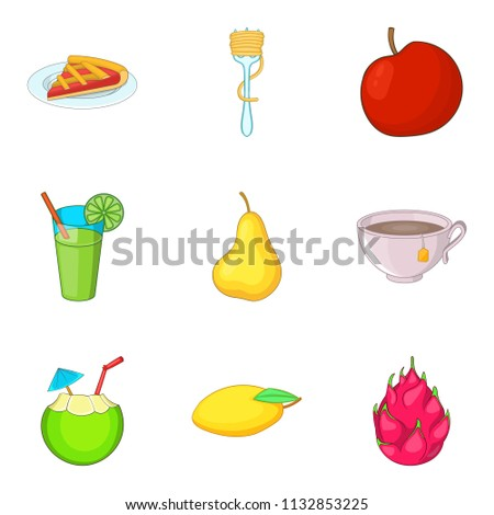 Variety of vegetable food icons set. Cartoon set of 9 variety of vegetable food icons for web isolated on white background