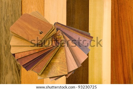 variety of wood panels with laminated samples