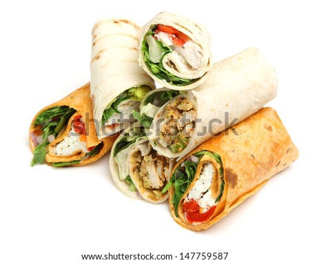 Variety of wrap sandwiches with chicken and cheese.