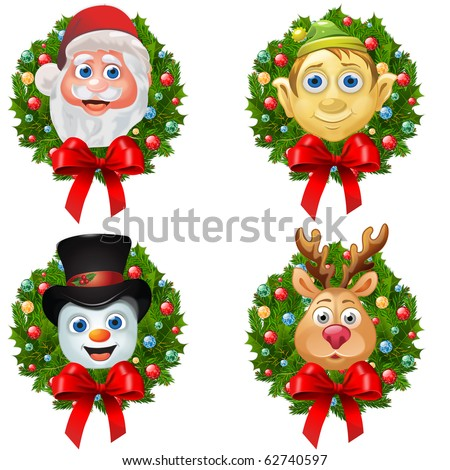 Variety of Wreath with Popular Christmas Characters