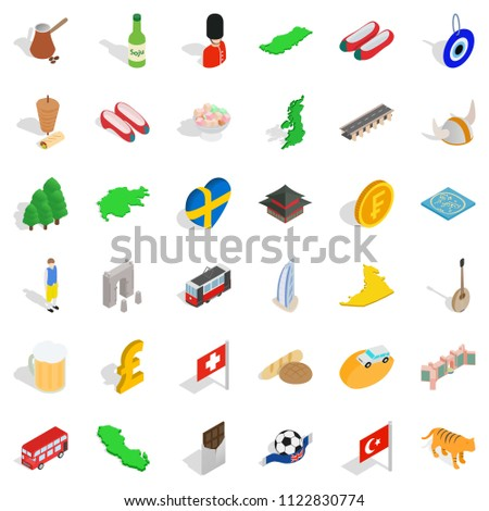 Variety people icons set. Isometric set of 36 variety people icons for web isolated on white background
