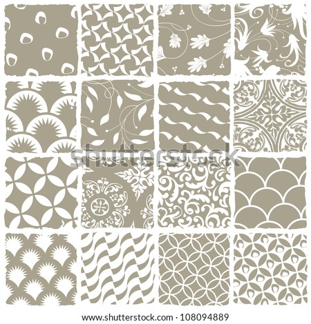 Variety styles seamless patterns set. All patterns available in swatch palette. Raster version