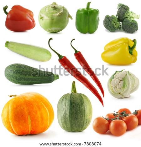 Variety vegetables isolated over white background