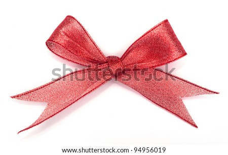 various a silk ribbon knot on white background - stock photo