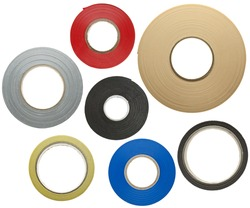 Various adhesive tapes isolated on white background