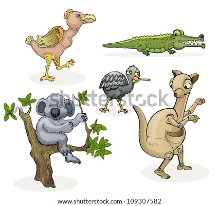 various australian animals hand drawn isolated on white color