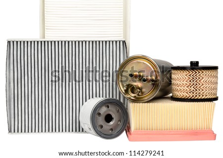 Various automotive filters necessary for vehicle service
