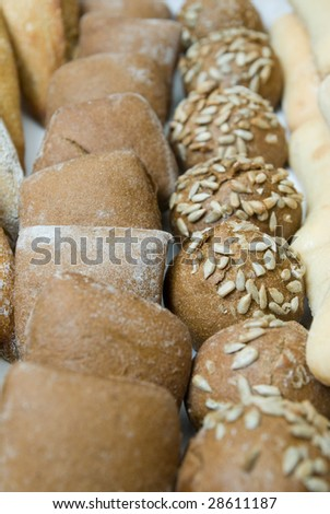 various baked bread buns - stock photo