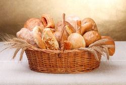 Various bakery products in basket