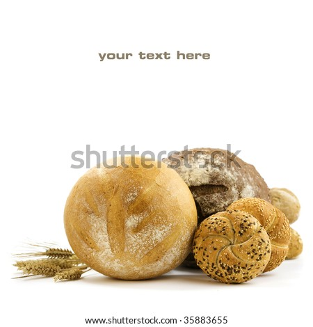 Various baking isolated on white background (with sample text)