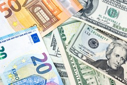 Various banknotes from different countries in world as US Dollar, Euro and Australia dollar concept of exchange, financial, business, and trading. Currency background.