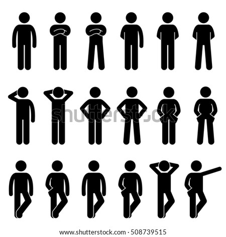 Various Basic Standing Human Man People Body Languages Poses Postures Stick Figure Stickman Pictogram Icons Set