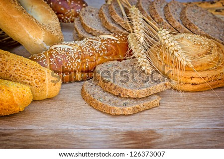 Various bread and pastry on the table