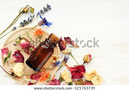 Various bright medicinal herb plant on wooden plate, essential oil extract bottle, top view. Botanical cosmetic ingredients, aromatherapy background. Herbal pharmacy Foto stock ©