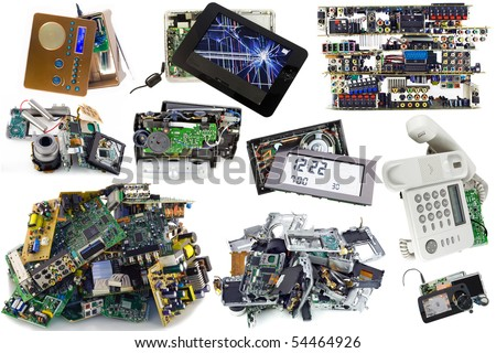 Various broken electronics  parts set   prepared for processing. Isolated on white. Mass production.